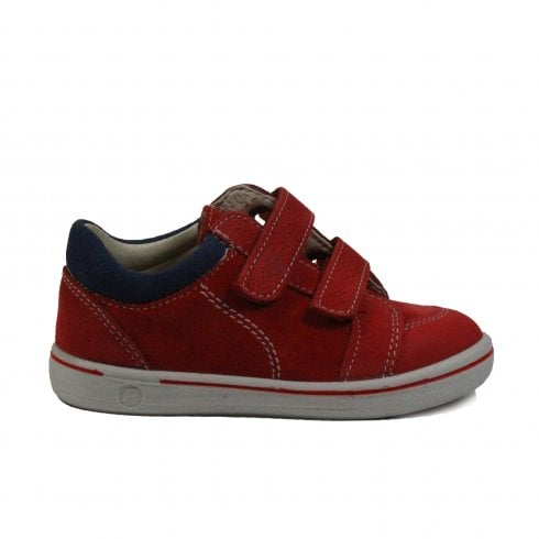 Ricosta Timmy 2622000-350 Red & Navy Nubuck Leather Boys Rip Tape Casual Trainer Shoes