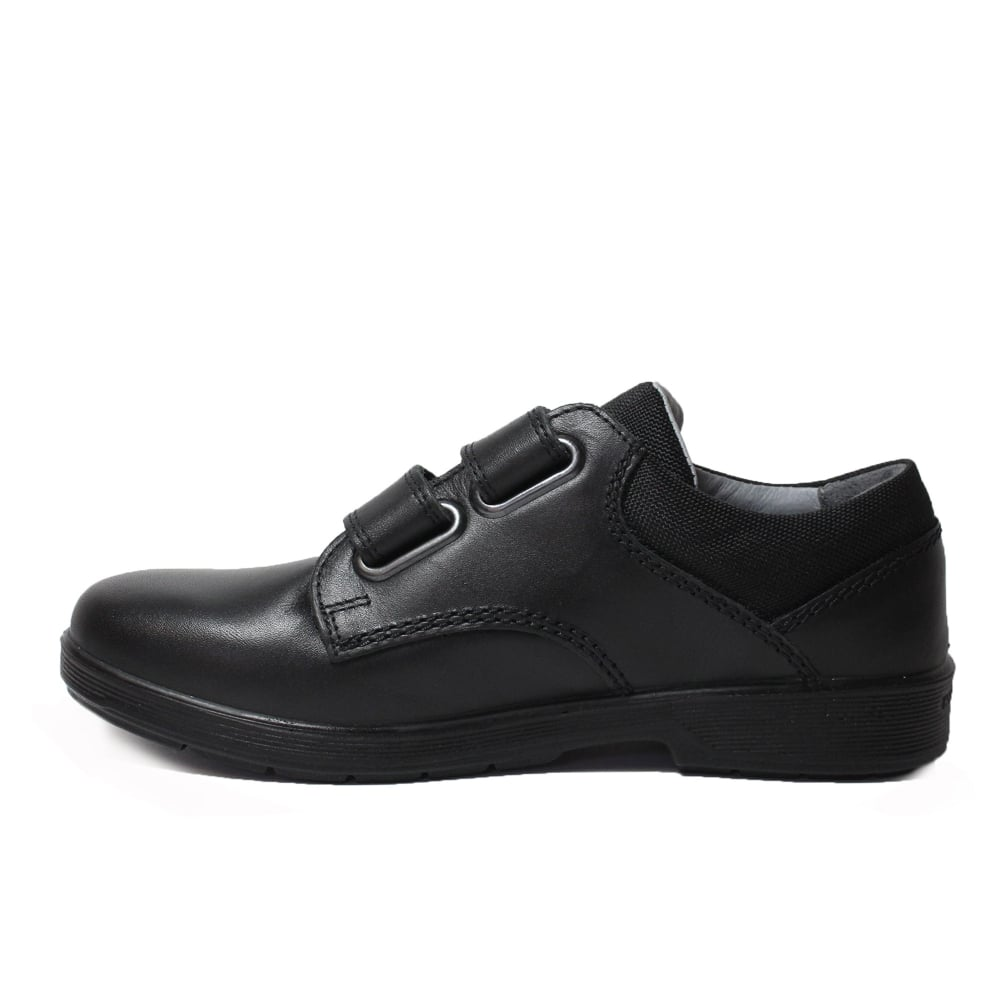 Leather Shoes William School Black Rip Boys Wide Fit Tape HYbD29IeWE