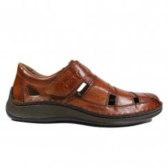 05278-24 Brown Leather Mens Rip Tape Summer Shoes