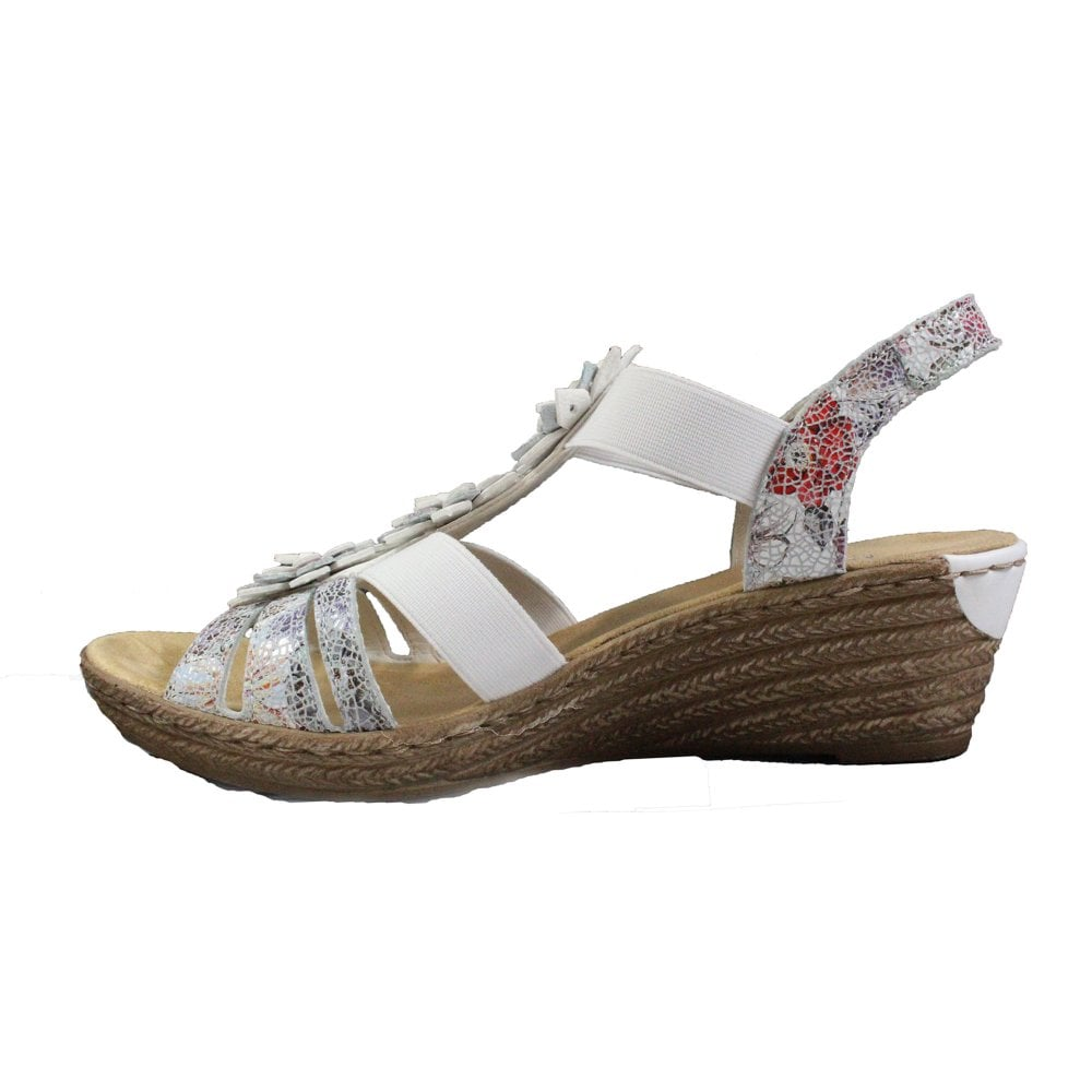 Ladies Rieker 62461 Grey Or White Leather Wedge Sandals