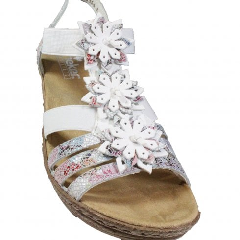 Rieker 62461 91 WhiteMulti Coloured Floral Leather Womens Wedge Sandals