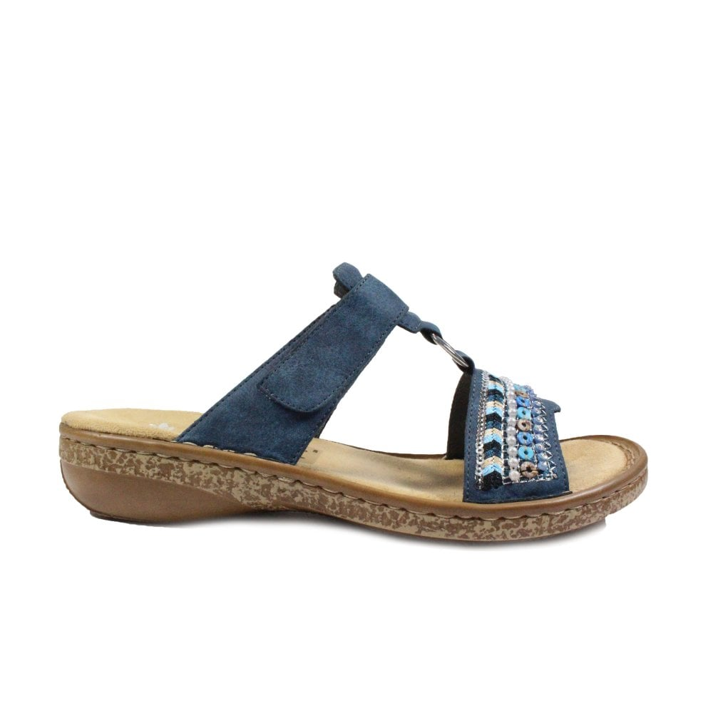 14 Navy Womens Slip On Mule Sandals