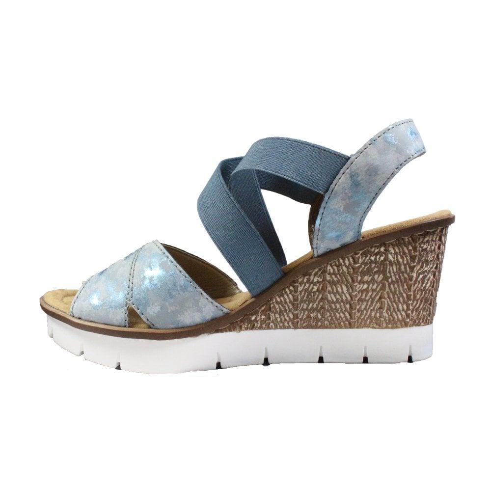 Rieker 65532 12 Blue Womens Wedge Sandals