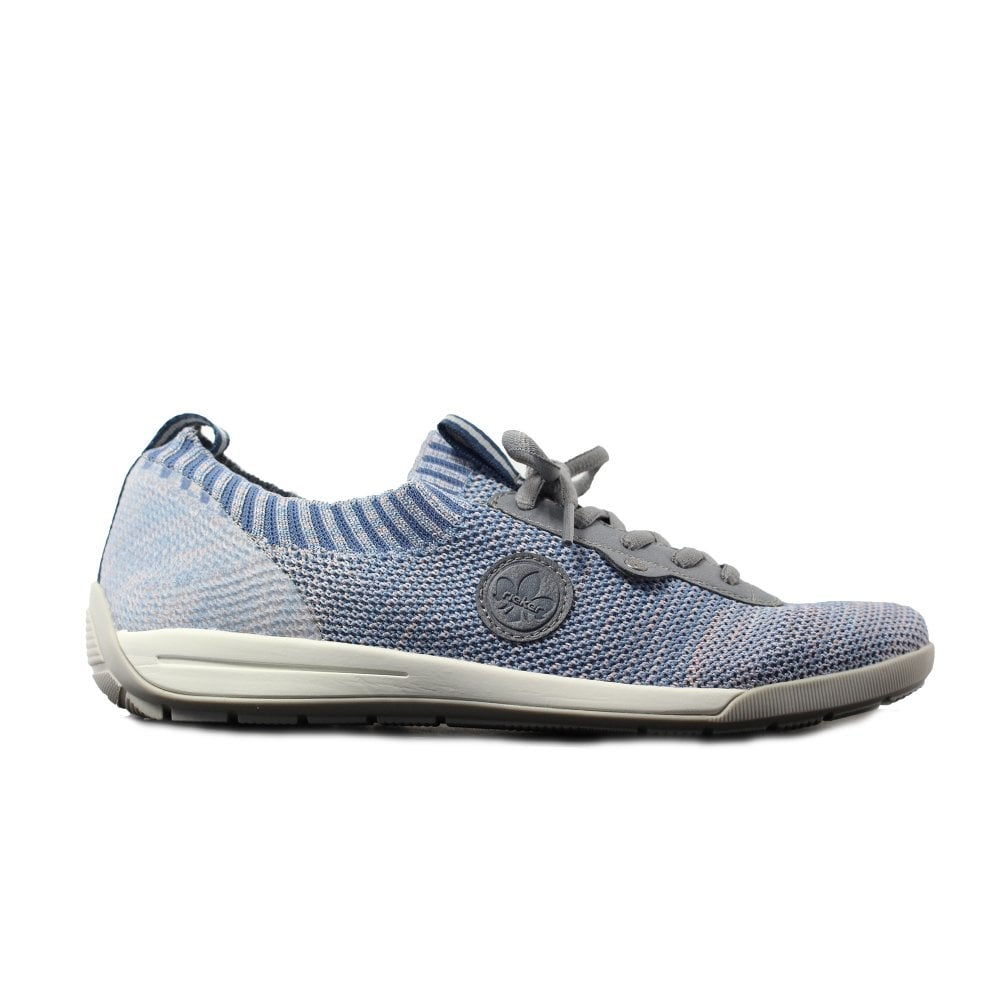 Blue Knitted Fabric Womens Lace Up