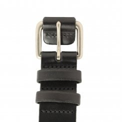 Covered Buckle Black Leather Belt
