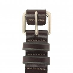 Covered Buckle Brown Leather Belt