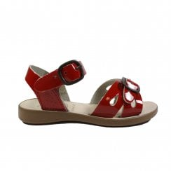 Marella Red Patent Leather Girls Adjustable Sandals