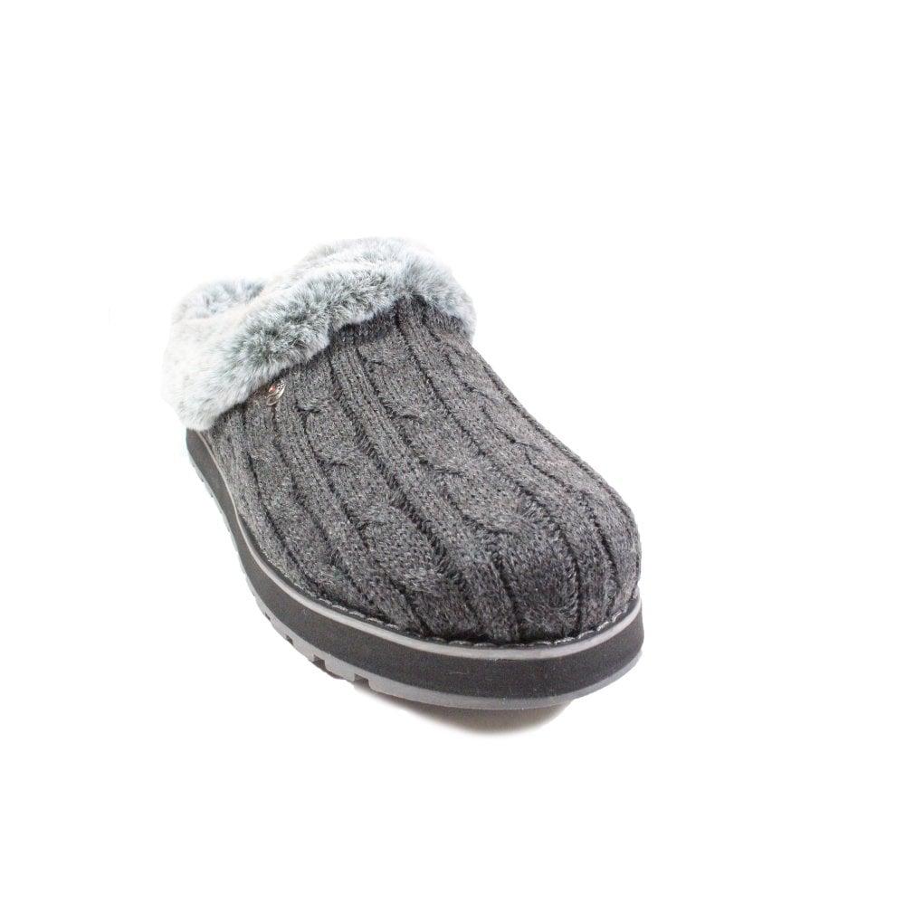 País de origen Decrépito Contratista  Skechers Bobs Keepsakes - Ice Angel 31204 Grey Knitted Jersey Womens Slip  On Mule Slippers | SALE | Buy Online UK