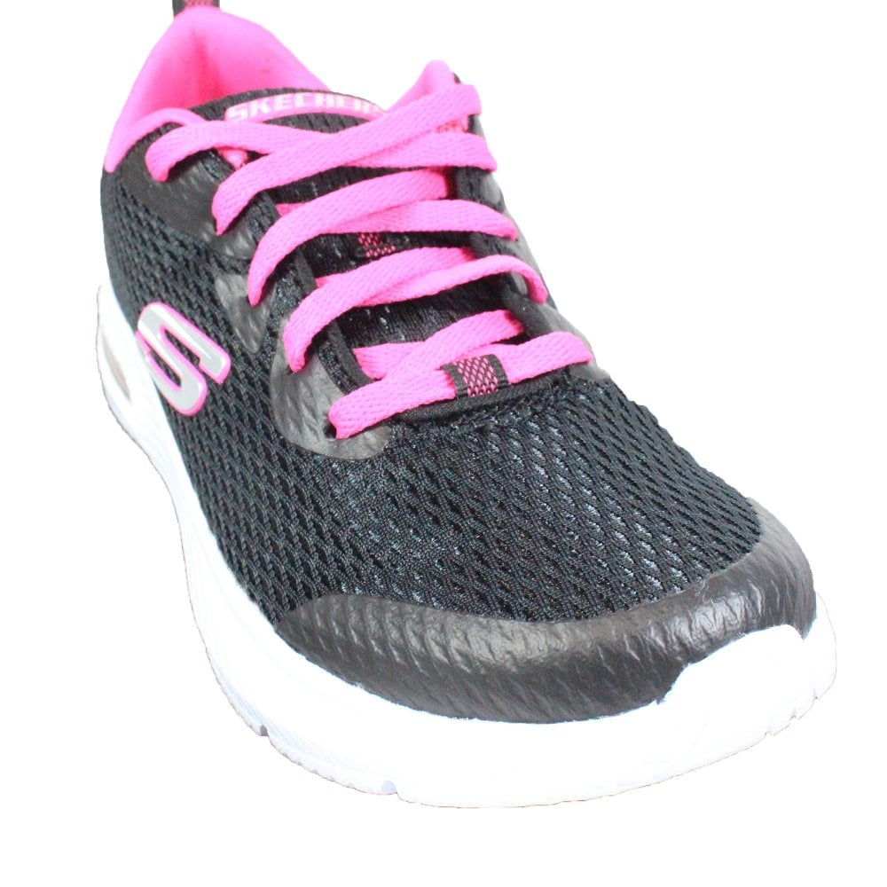 Skechers Dyna Air Jump Brights 83051L Black Mesh Girls Lace Up Trainers