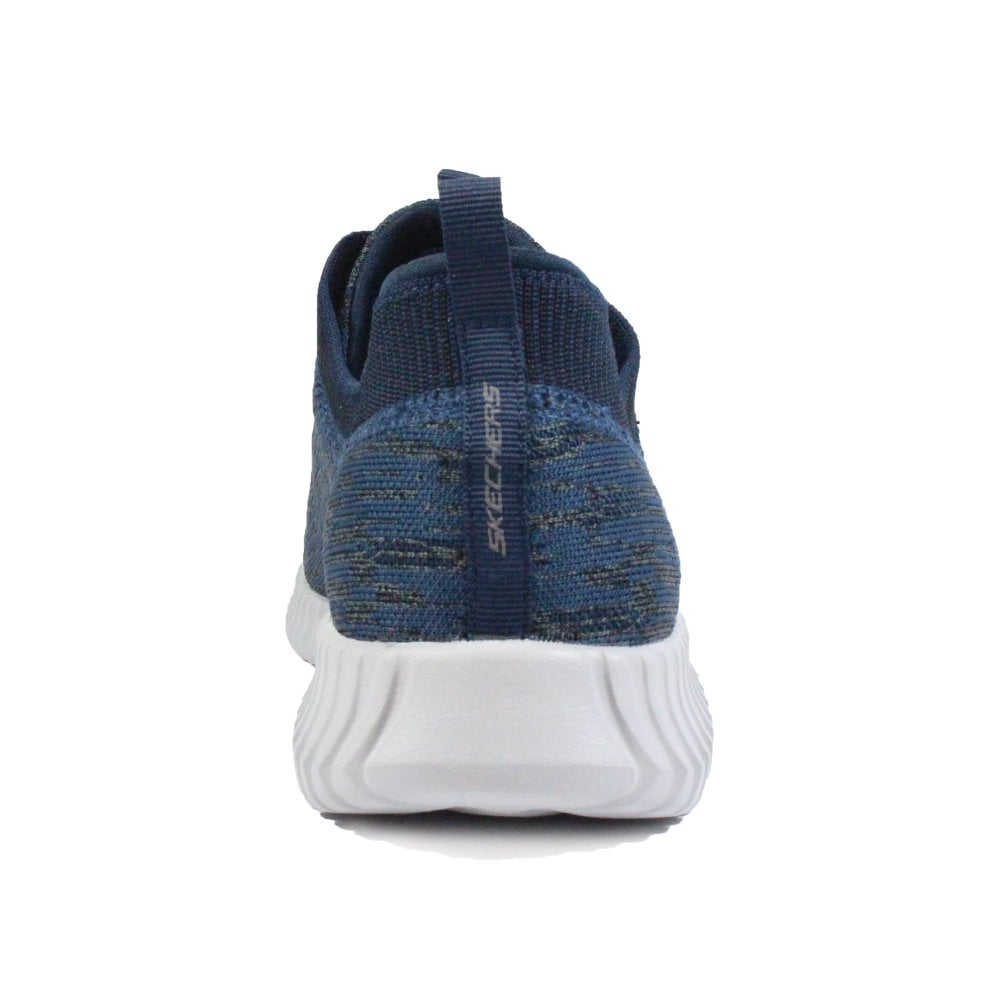 quality design 667a0 fc4fe ... Skechers Elite Flex - Hartnell 52642 Dark Navy Knitted Mesh Mens Bungee  Lace Trainers ...
