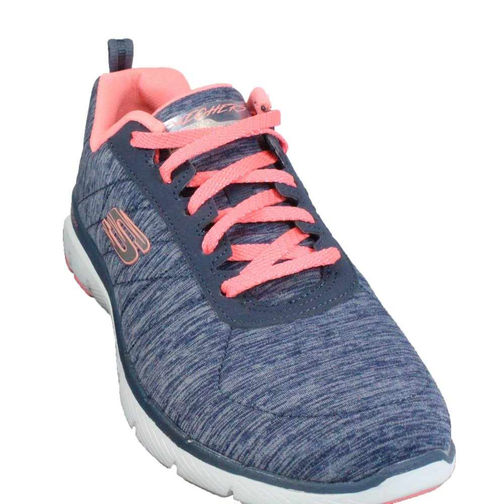 13d086a4f4c0 ... Skechers Flex Appeal 3.0 - Insiders 13067 Navy Jersey Knit Womens Lace  Up Trainers