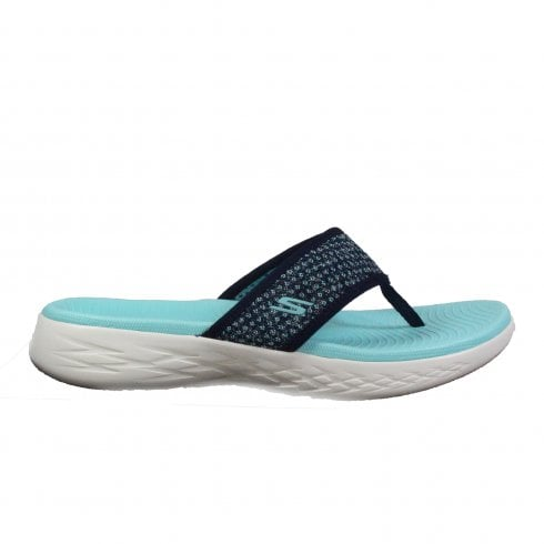 95ac55bdf03 Skechers On the GO 600 - Glossy 16150 Aqua Mesh Womens Toe Post Sandals -  Skechers from North Shoes UK