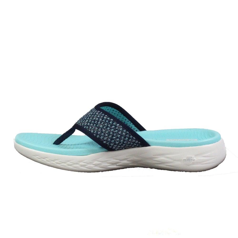 59b42e621e1f ... Skechers On the GO 600 - Glossy 16150 Aqua Mesh Womens Toe Post Sandals  ...