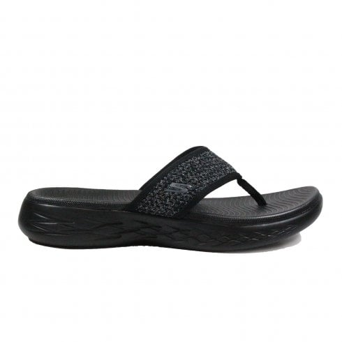 eea71a804a0 Skechers On the GO 600 - Glossy 16150 Black Mesh Womens Toe Post Sandals -  Skechers from North Shoes UK
