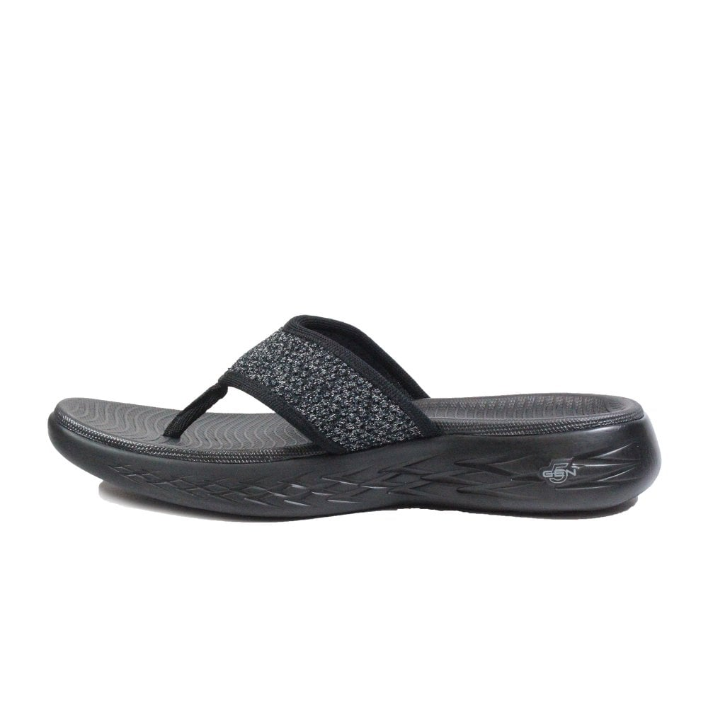 8a66ccc0ff94 ... Skechers On the GO 600 - Glossy 16150 Black Mesh Womens Toe Post Sandals  ...