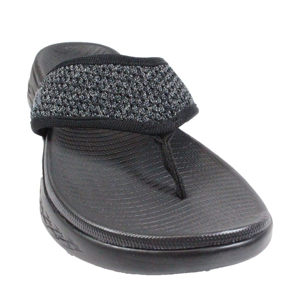 a77a4b0b7958 ... Skechers On the GO 600 - Glossy 16150 Black Mesh Womens Toe Post Sandals