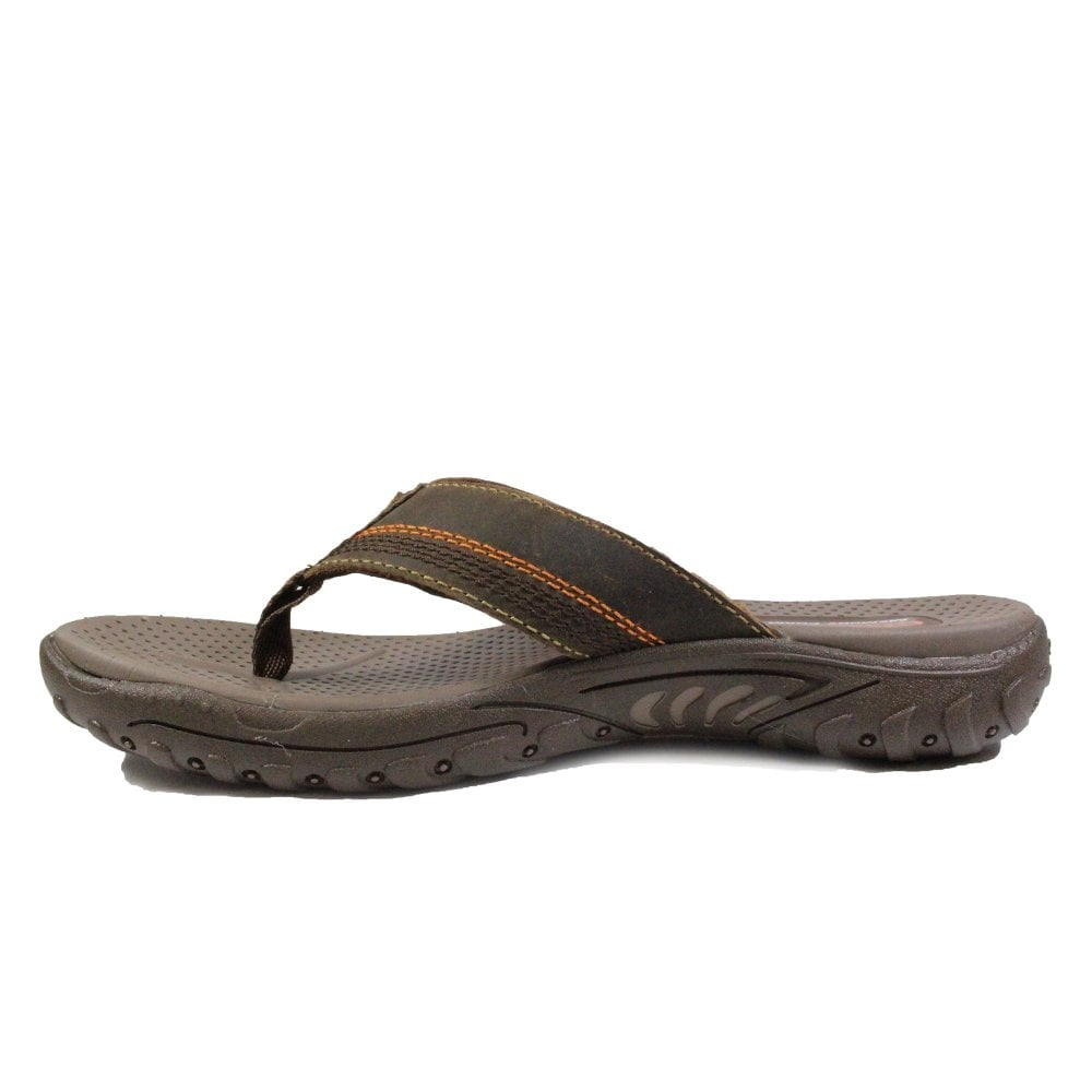 b8a981e3249f ... Skechers Relaxed Fit®  Reggae 65460 Brown Oiled Leather Mens Toe Post  Sandals ...