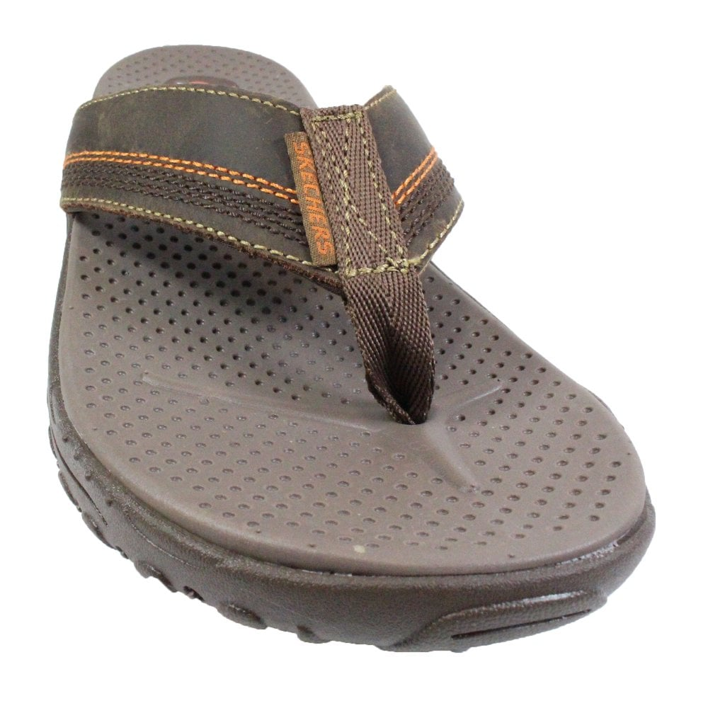2868e2305d3b ... Skechers Relaxed Fit®  Reggae 65460 Brown Oiled Leather Mens Toe Post  Sandals