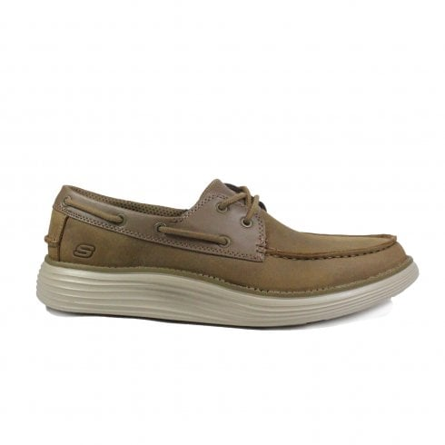 Skechers Status 2.0 Former 65894 Brown Oiled Leather Mens Lace Up Deck Shoes