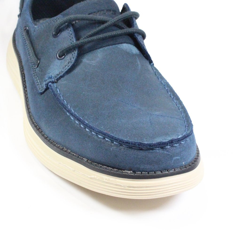 Status 2.0 Former 65894 Navy Oiled Leather Mens Lace Up Deck Shoes