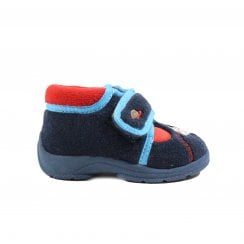 Astro Lights Navy Textile Unisex Rip Tape Slippers - UK 4