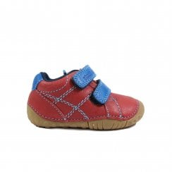 Baby Milan Red Leather Unisex Rip Tape Pre Walker Shoes - UK 2F