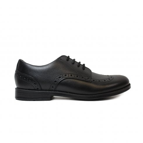 Startrite Brogue Pri Black Leather Girls Lace Up Brogue Shoe