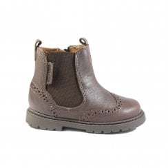 Digby Brown Leather Boys Zip Up Chelsea Boot