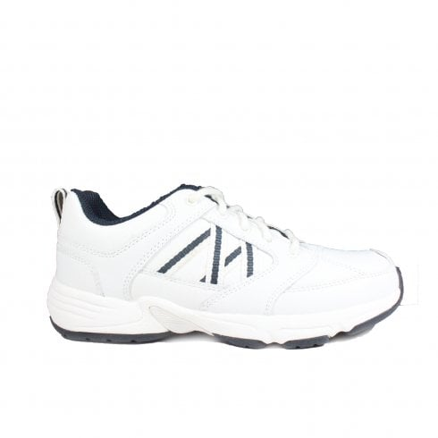 Startrite Harrier White And Navy Leather Lace Up Trainer