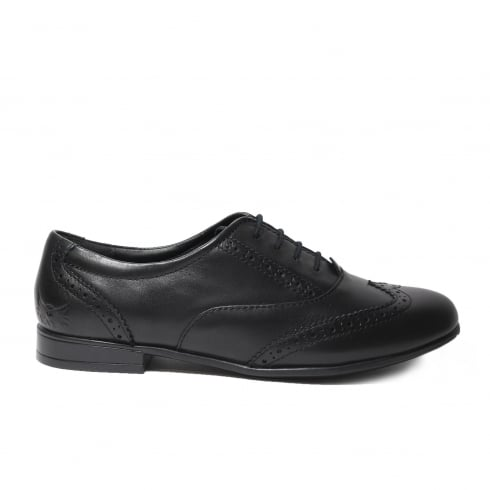 Startrite Matilda Black Leather Girls Lace Up Brogue School Shoe