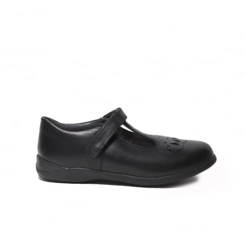 Startrite Poppy Black Leather Girls T Bar School Shoe