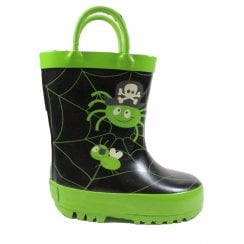 Spider Glow Black/Green Rubber Unisex Glow In The Dark Wellington Boots - UK 4 F