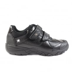 Tarantula Black Leather Boys Rip Tape Trainer School Shoe
