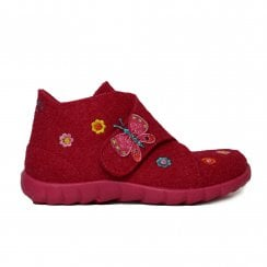 00291-64 Pink Felt Girls Rip Tape Slipper Boot