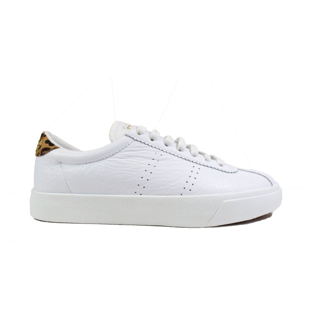 White/Leopard Print Leather Womens Lace