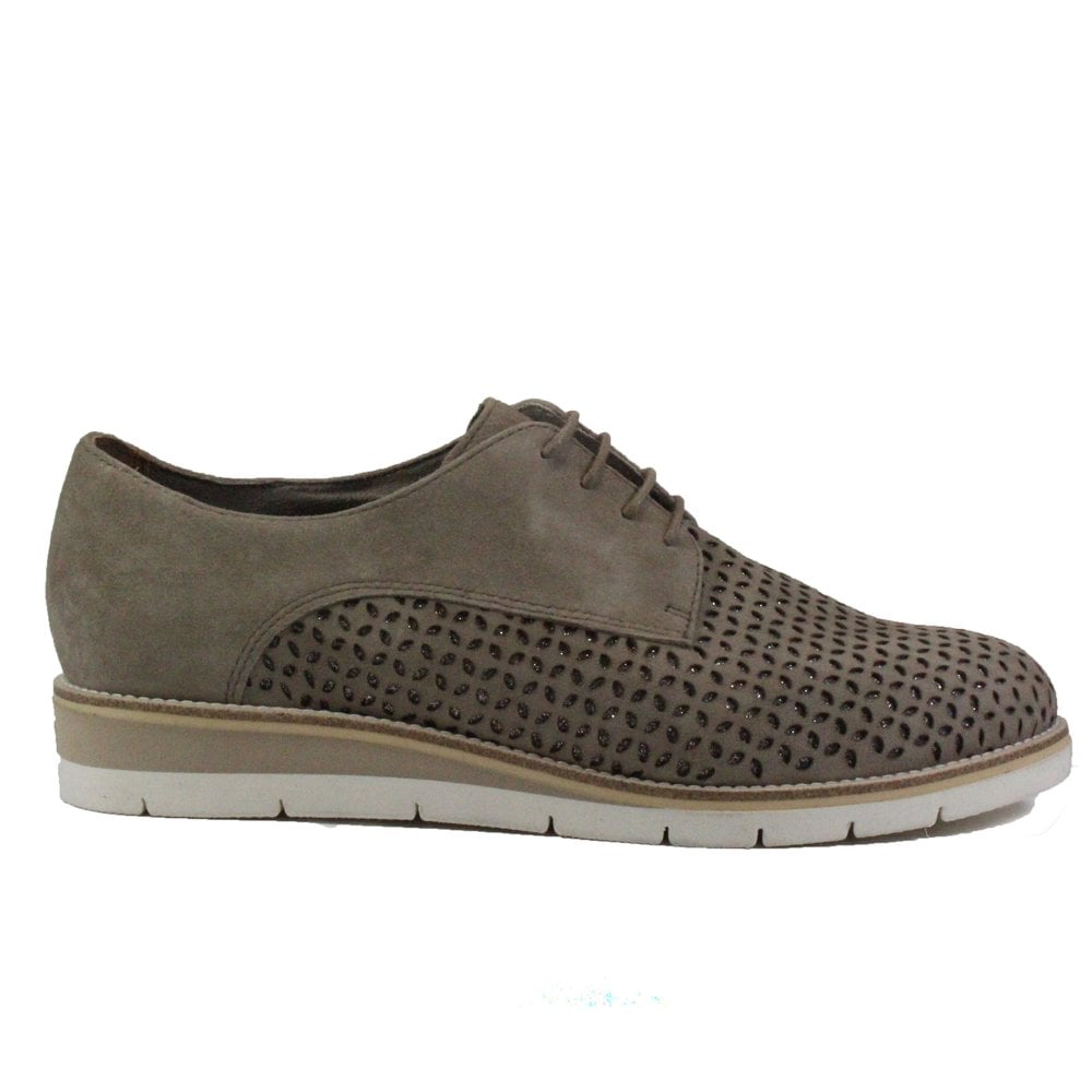 4e74a2e0 Mens Tamaris 23202 Taupe Suede Leather Womens Lace Up Shoes | SALE ...