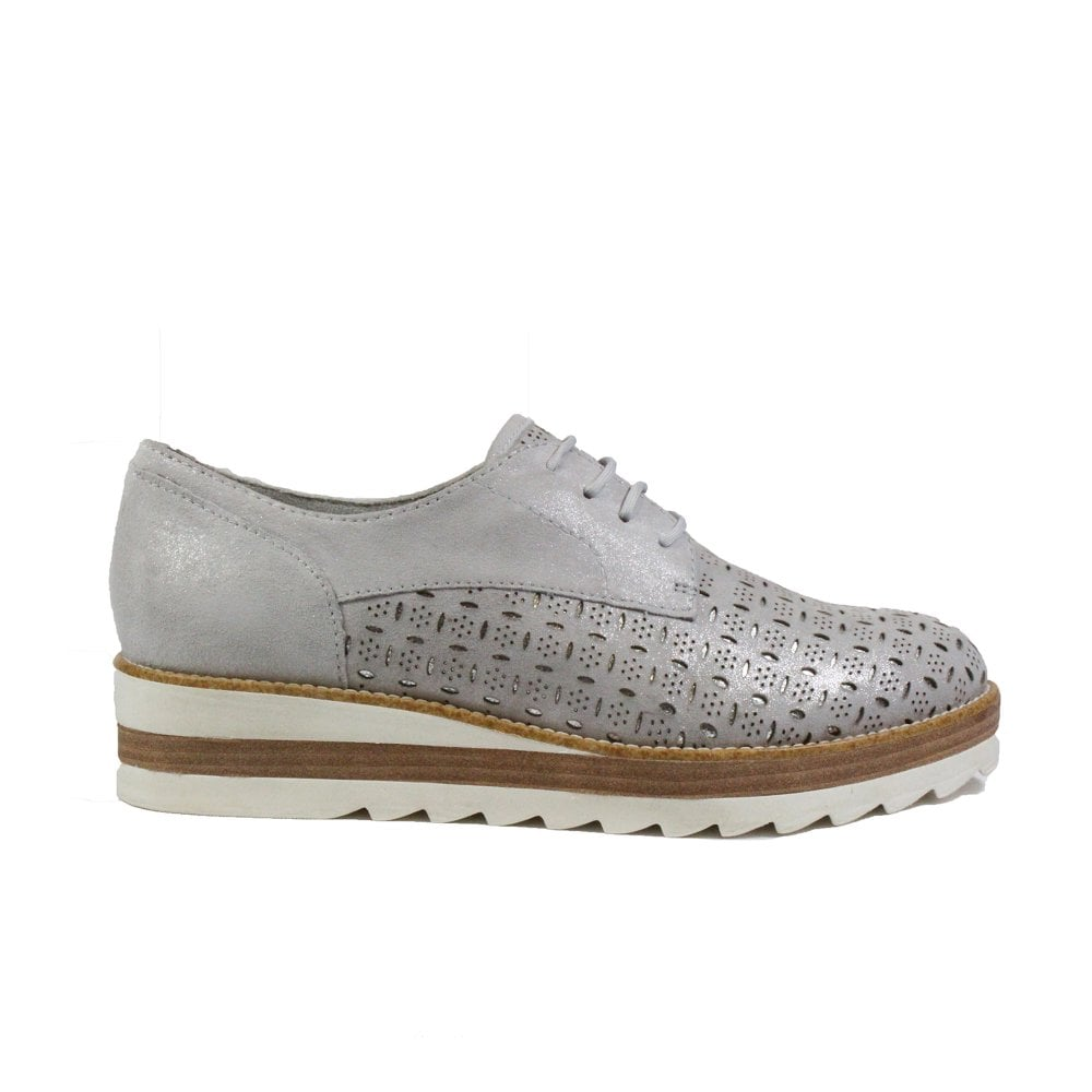 20638316 Mens Tamaris 23752 Silver Leather Womens Lace Up Shoes | SALE | Buy ...