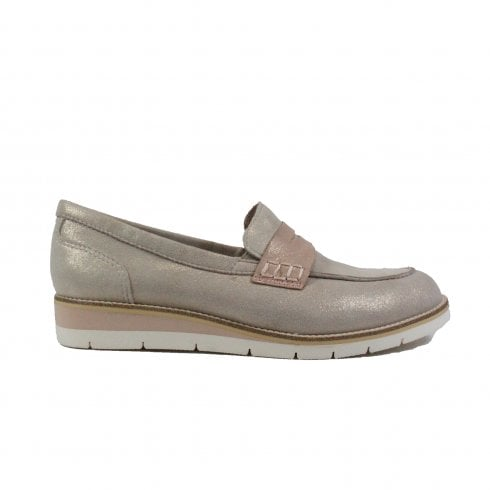 Tamaris 24303 Taupe Leather Womens Slip On Loafer Shoe