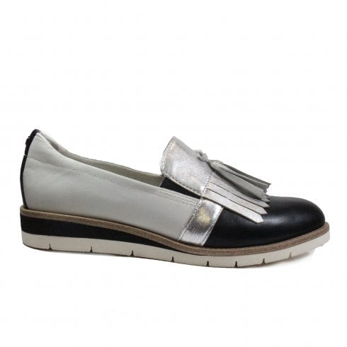 Tamaris 24306 Black/Silver/White Textile/Leather Womens Slip On Loafer Shoes