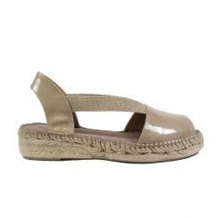 Evon-XA Taupe Patent Leather Womens Pull ON Espadrille Sandals
