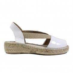 Evon-XA White Patent Leather Womens Pull On Espadrille Sandals