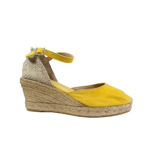 Toni Pons Lloret-5 Yellow Suede Leather Womens Wedge Espadrille Shoes