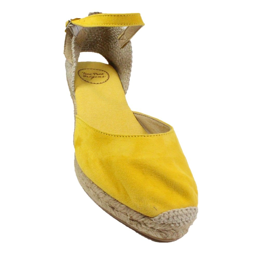 3dbc23ce ... Toni Pons Lloret-5 Yellow Suede Leather Womens Wedge Espadrille Shoes