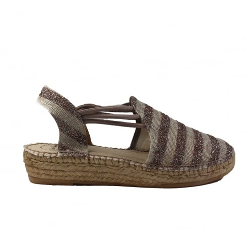 e774dcbe696f Toni Pons Nancy Taupe And Glitter Striped Canvas Womens Espadrille Sandal -  Toni Pons from North Shoes UK