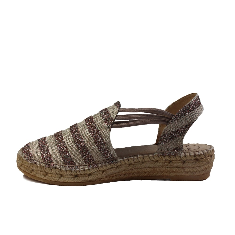 b96b3211357 ... Toni Pons Nancy Taupe And Glitter Striped Canvas Womens Espadrille  Sandal ...